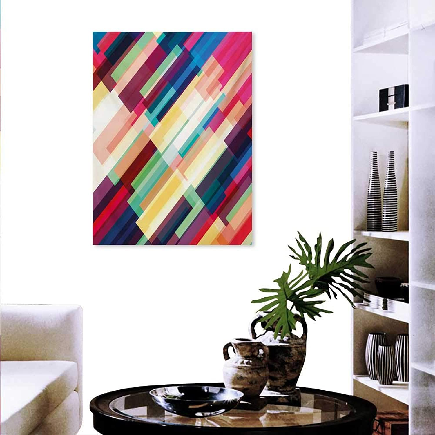 Mannwarehouse Abstract Canvas Wall Art Set Futuristic Geometric Pattern Design with colorful Stripes Modern Technologic Print Background Wall Stickers 32 x48  Multicolor