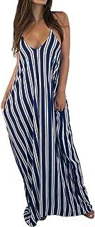 Liyuandian Womens Summer Dresses Striped Deep V Neck Spaghetti Strap Shift Maxi Dresses Sleeveless Long Dress with Pockets