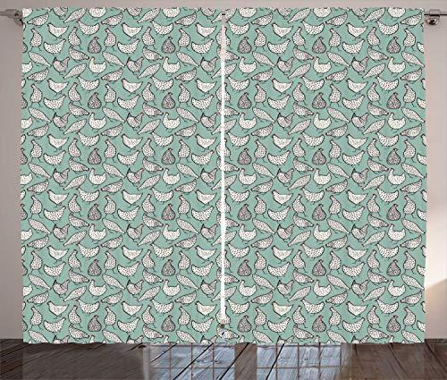 ABAKUHAUS Hähnchen Rustikaler Gardine, Geflügel Tupfen Tier, Schlafzimmer Kräuselband Vorhang mit Schlaufen und Haken, 280 x 225 cm, Almond Grün und Weiß