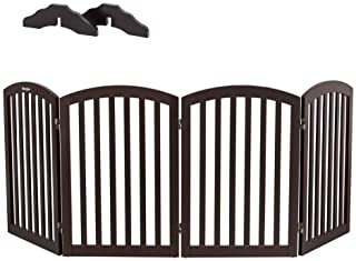 """Bonnlo Wooden Folding Pet Gate Freestanding Barrier for Dogs Cats 4 Panels Doggy Kitty Safety Fence 