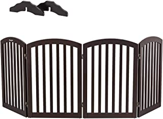 Bonnlo Wooden Folding Pet Gate Freestanding Barrier for Dogs Cats 4 Panels Doggy Kitty Safety Fence | Fully Assembled | Expands Up to 82
