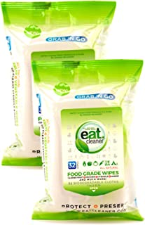 eatCleaner Fruit and Veggie Wipes, Hand Wipes, Travel Wipes, Fruit Wipes, Cleansing Wipes, Remove Harmful Residue and Chemicals Where There is No Water, 2-Packs (64 ct)