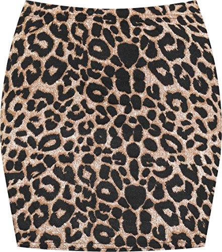 WearAll - Damen Bedruckt Dehnbar Jersey Figurbetontes Kurz Mini-Rock - Braun Leopard - 40-42