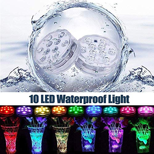 Submersible Led Lights Waterproof Multi-color Battery Remote Control, Party Perfect Decorative Lighting, Suitable for Aquarium Lights, Christmas, Halloween, Etc. IP68 Waterproof Rating (4Pack)