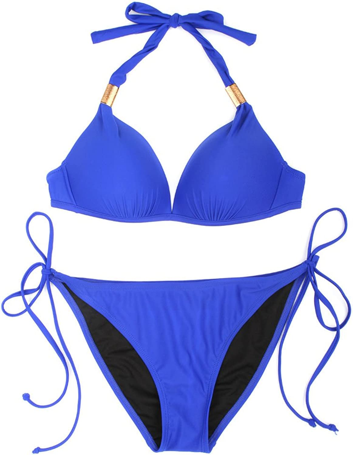 European and American Style Sapphire Bikini Swimsuit, Sexy ThreePoint Seaside Holiday Small Chest Gathered Swimsuit (Size   L)