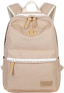 Mädchen Segeltuch Rucksack Lace Polka Punkt Schulrucksack Süße und Moderne Schultasche Große Kapazität für Schule Outdoor Camping Ausflug Khaki