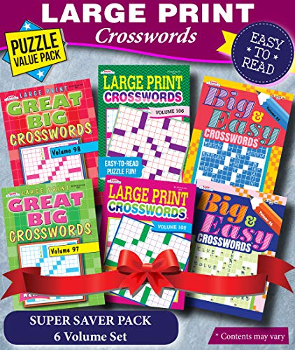 KAPPA Super Saver LARGE PRINT Crosswords Puzzle Pack-Set of 6 Full Size Books
