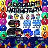 Among Us Video Game Party Supplies - Among Us Party Decoration Birthday Party Favors, Spoons, Fork, Knife, Plates, Table Covers, Banner, Napkins, Balloons for Kids Boy