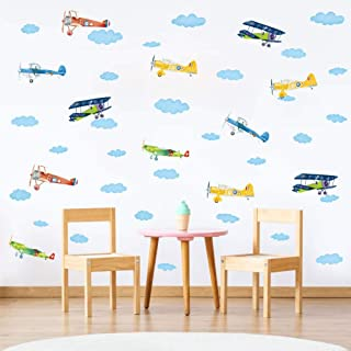 IARTTOP DIY Watercolor Clouds Wall Sticker, Flying Airplane Decal for Kids Room Bedroom Removable Home Wall Art Decor (41pcs)