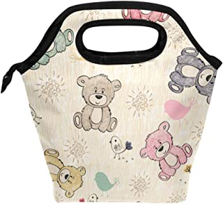 Mydaily Lunch Box Cute Bear Reusable Insulated School Lunch Bag for Women Kids