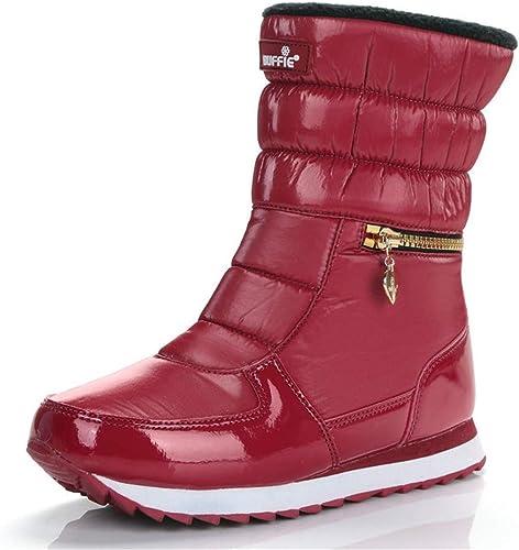 ZHRUI Stiefel de Invierno Moda para damen Stiefel de Nieve Estilo de Moda schuhe al Aire Libre (Farbe   rot, tamaño   5=38 EU)