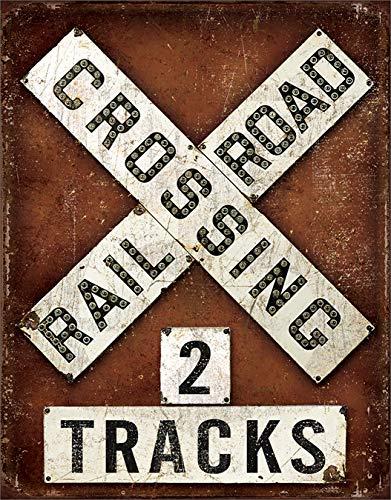 Desperate Enterprises Railroad Crossing Tin Sign, 12.5' W x 16' H
