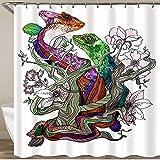 LONSANT Shower Curtain,Lizard Gecko Salamander Dragon Chameleon Tattoo Nature Fauna Flower Tree,Waterproof Polyester Fabric Home Dorm Decor Bath Curtains for Bathroom Bathtub Hooks Included-72 x72