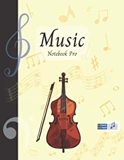 Music Notebook Pro With Instrument - Contrabass | Advanced 10 Staves Interior With Educational Materials: Music Manuscript...