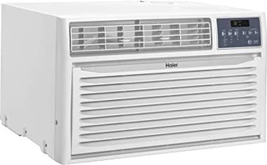 """Haier HTWR10XCR 24"""" Fixed Chassis Air Conditioner with 10000 Cooling BTU, Full Function Remote, Time/Temperature Display, 3 Fan Speeds, 24 Hour Timer, Energy Saver Mode, in White"""