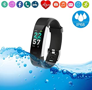 Fitness Tracker HR Smart Watch Heart Rate Sleep Monitor/IP68 Waterproof Sport Running Walking Pedometer/Activity Calories Step Counter Gift for Women Men Android phones Compatible with IPhone Samsung
