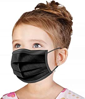 Kids Black Disposable Face Mask, 50 PCS [US BRAND] Wanwane Ages 4-12 Children Sized Breathable Mouth Cover Safety Face Masks