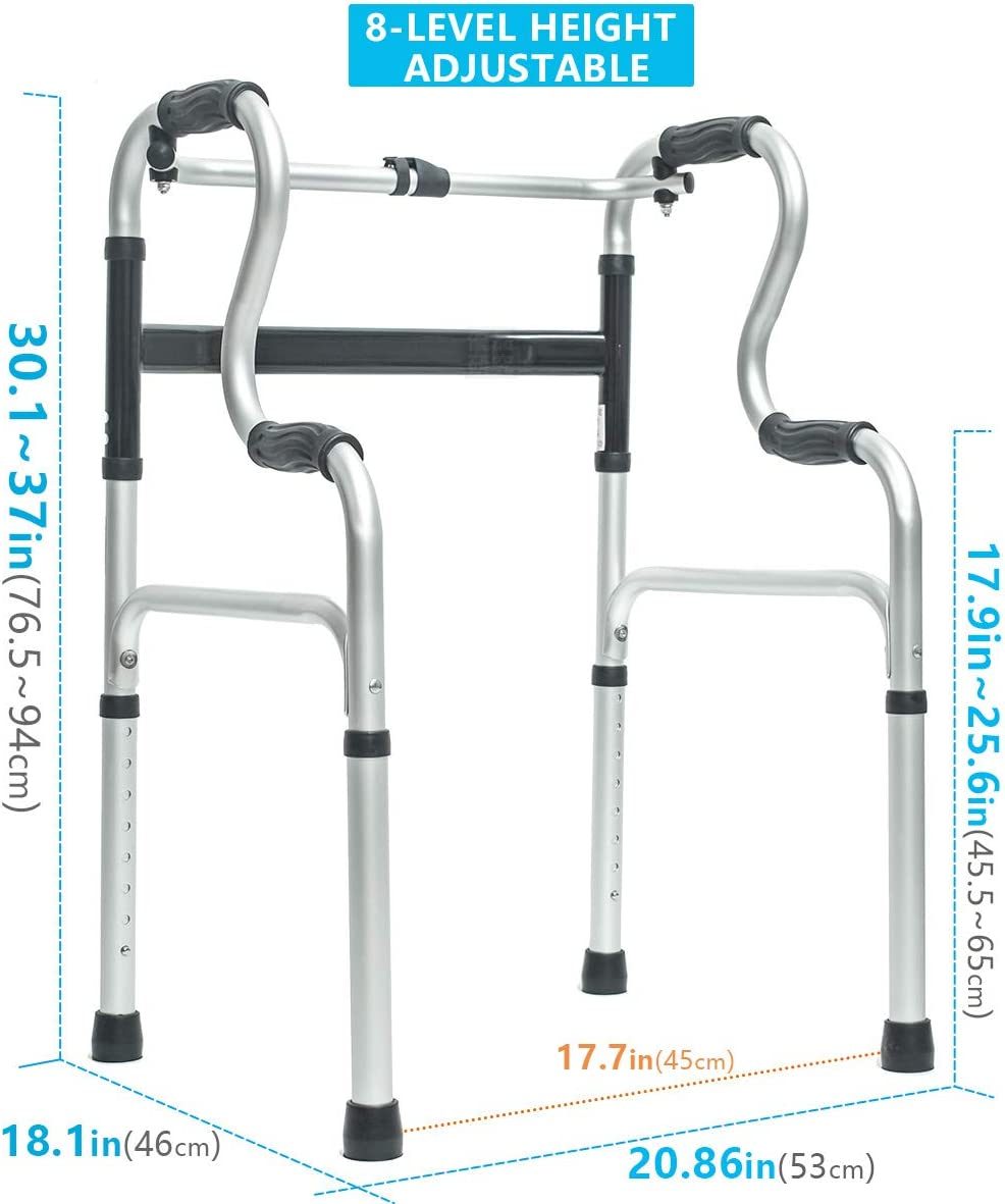 Morimoe Folding Walker with Wheels,Stand-Up Aid,Portable,Lightweight,Aluminum Alloy : Health & Household