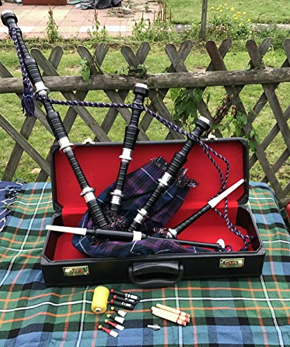 Scottish Bagpipes Black Finish with Silver Plain Mounts Highland Bagpipe Free Tutor Book, Hard Case