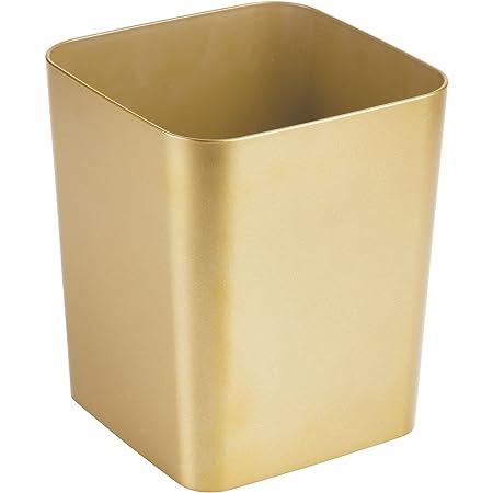 mDesign Poubelle Salle de Bain – Corbeille à Papier carrée au Design élégant – Poubelle en Plastique de Cuisine – Couleur Laiton