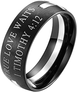 INRENG Men's Stainless Steel 8MM Bible Verse Christian Purity Cross Ring Band 1 Timothy 4:12