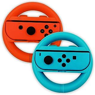 Switch ジョイコン RYUSAN Joy-Conハンドル ジョイコン グリップ Switch ハンドル ニンテンドースイッチ ジョイコン カバー マリオカート スイッチ ジョイコン レースゲーム 2個 セット ブルー・レッド