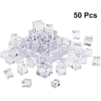 """Fake Food Faux Acrylic Ice Cubes Crystal Clear 0.98/"""" Square Party Home DIY"""