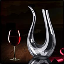 Quality Wine Decanters 1000ML Horn U Shape 100% Handmade Mouth-Blown Wine Aerator Delicate Lead Free Crystal Glass Carafe