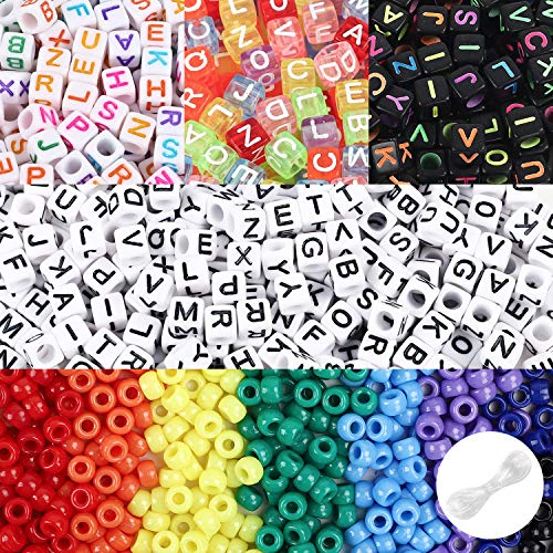 UOONY 1600pcs Beads for Bracelet Kit, 1200 Acrylic Letter Beads with 400 Seed Beads, Alphabet Beads with Elastic Strings for Name Bracelet Necklace Key Chains Craft Jewelry Making