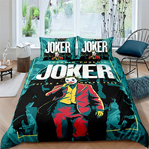 ARTGHJL Ropa de cama de microfibra 3D Joker, funda nórdica de 135 x 200 cm + funda de almohada de 50 x 75 cm, juego de cama infantil para cama individual (135 x 200 cm), diseño de Joker