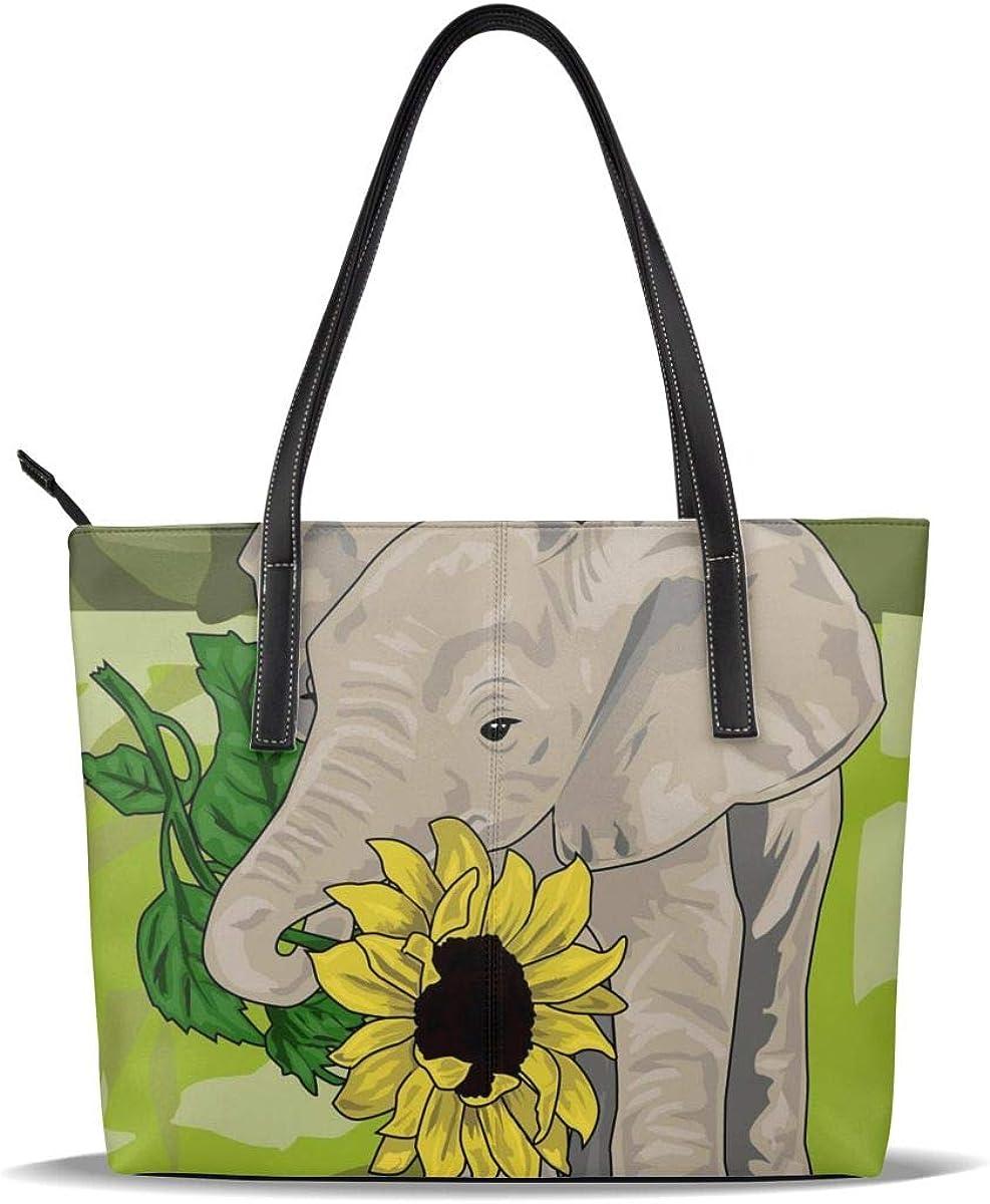 Elephant Flower Sunflower Genuine Yellow Art Printed PU Leather Popular Pattern