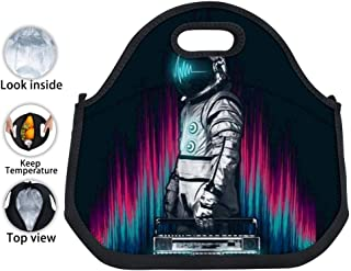ENPENGOOD The Astronaut Listing Music Tin Foil Lunch Bag Waterproof Bento Tote Boxes Reusable Snack Handbags