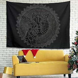 Facbalaign Tapiz de jirafa con tatuaje de Totem artístico, antiarrugas, para colgar en la pared, para salón, dormitorio, c...