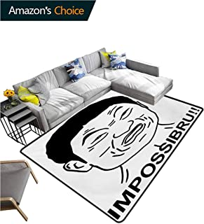 TableCoversHome Humor Solid Area Rug Living Room, Funny Impossibru Quote with Angry Guy Meme Sarcasm Web Chat Design Print Fashionable High Class Living Dinning Room, (3'x 5') Black and White
