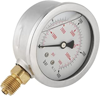 Akozon Medidor de presión de agua, 0-400BAR 0-5800PSI G1 / 4