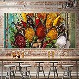 OCRTN Pintura de Alimentos Cartel de Especias Moderno Cuadro de Lienzo para Cocina Restaurante Decoración del hogar Arte de la Pared Decoraciones de Pared Populares Modernas - 60x120cm Sin Marco