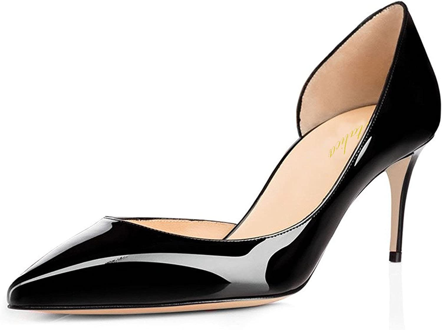 Lutalica Women Sexy Pointed Toe shoes Kitten Heel Summer Dress Party Pumps Size 5.5-12 US