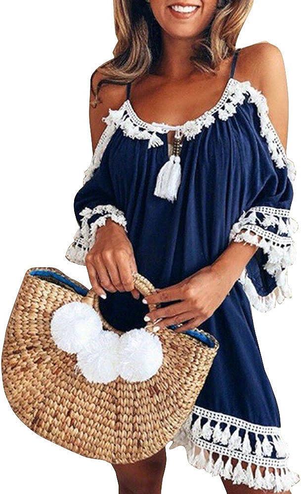iLUGU Max 64% OFF Sexy Off Shoulder Mini Dresses Beach Part Summer for Women Ranking TOP18