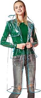 女性の 観光 純粋な色 透明 青 縁取り レインコート ポンチョ (サイズ : XL)