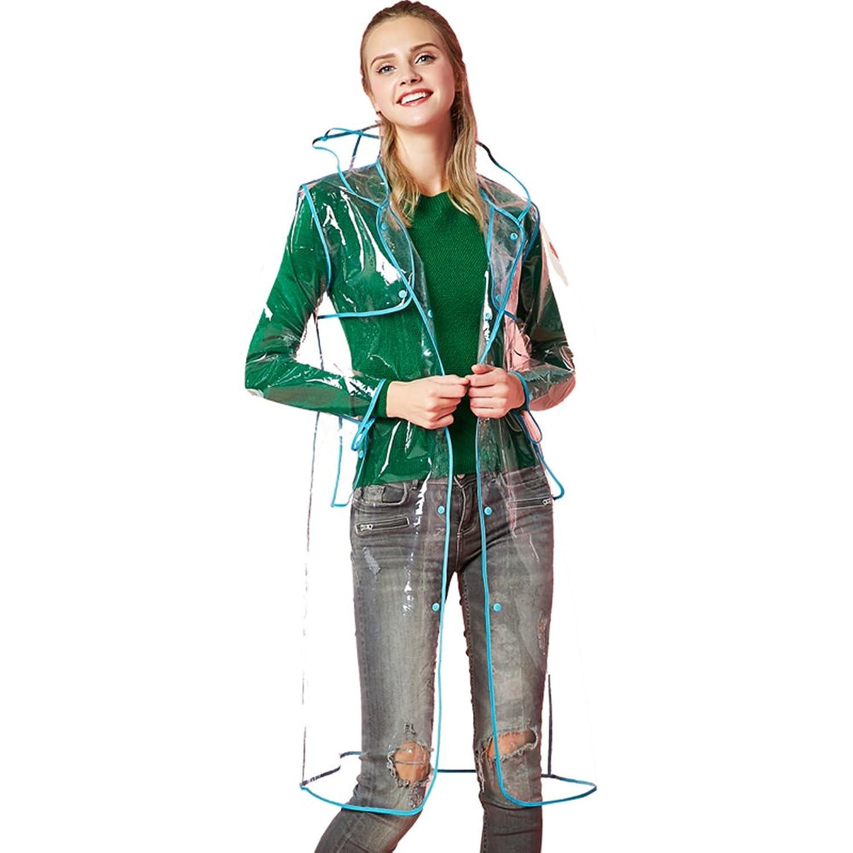 レインコート 雨具 女性の 観光 純粋な色 透明 青 縁取り レインコート ポンチョ 通学 通勤 防水 防汚 (サイズ : L)