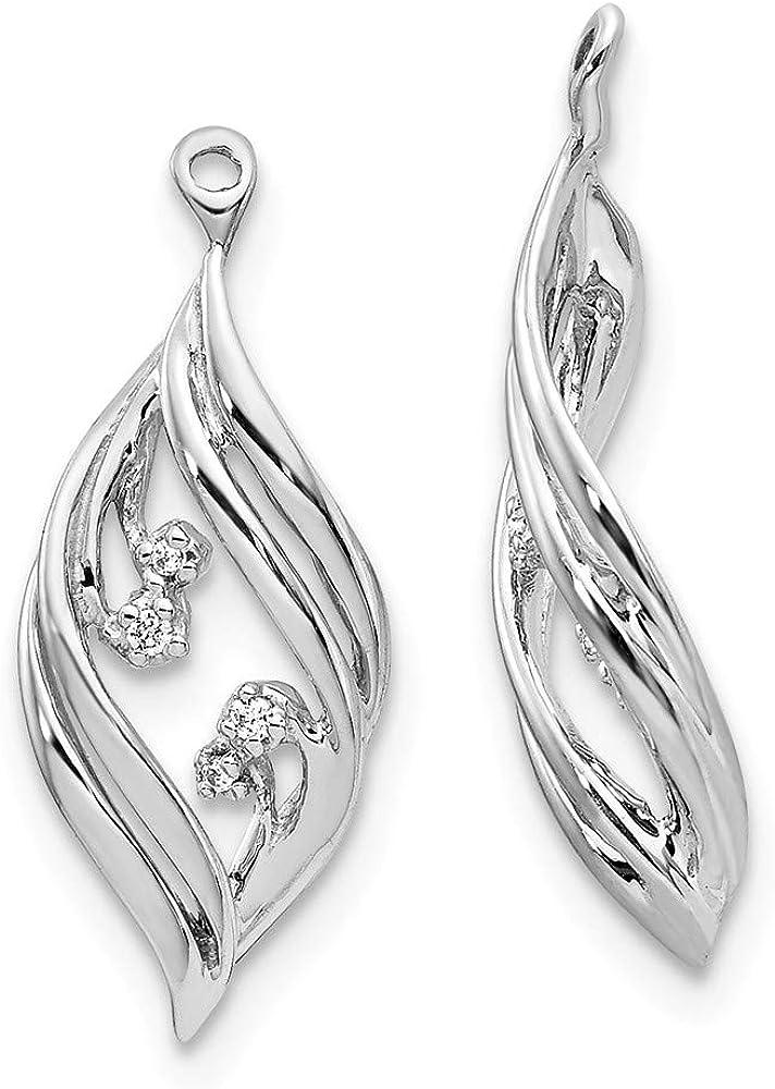 Affluent Rock 14k White Gold Fancy Twisted Diamond Earrings Jackets (0.75