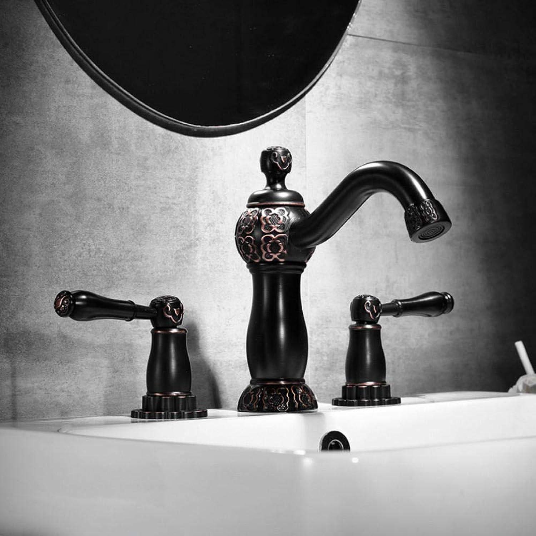 Hiwenr Becken Wasserhahn Poliert Antik Schwarz Finish Klassische Messing Waschbecken Wasserhahn Doppelgriff 3 Loch Bad Becken Zhler Mischbatterie