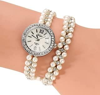 Hunputa Women Gold Pearl Jewelry Steel Bracelet Wristwatch Women Female Ladies Crystal Casual Fashion Watch (D)