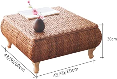 Straw Tatami Table Home Floor Table Creative Japanese Style Low Table Living Room Table, Can Be Stored Tables (Color : Brown,