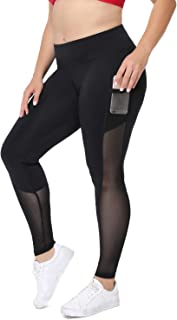 Plus Size Capri Workout Legging for Women High Waist Yoga Pants with Pockets Mesh Athletic Gym Tights
