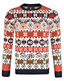 noroze, maglione natalizio unisex, fantasia fair isle, a maglia grossa, per uomo e donna reindeer stripe ecru l