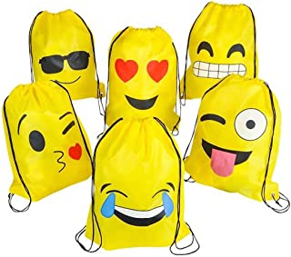 6-Pack Emoji Party Supplies Favor Drawstring Backpack Bags, Cute Classroom Carnival Prizes for Kids Teens Boys Girls Birthday Ideas Goody Return Gift Emoticon Faces String Cinch Sack Bulk (16X13 Inch)