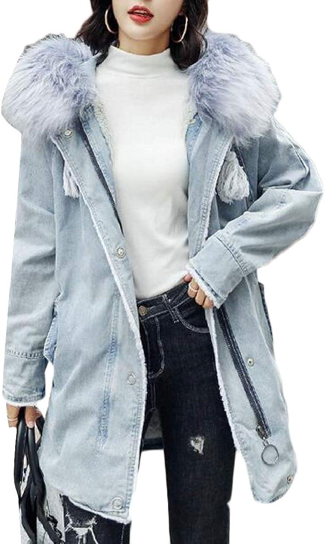 QDCACA Womens Winter Warm Thicken Faux Fur Hoodie Denim Quilted Jacket