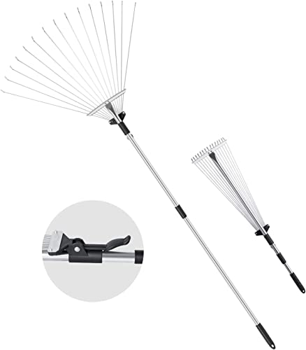 """2021 ORIENTOOLS Steel Leaf Rake, Telescopic lowest Leaves Rake with Adjustable lowest 8""""- 23"""" Folding Head and Comfortable Grip Handle (15 Tines,32 to 63 inches) online"""