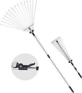 """ORIENTOOLS Steel Leaf Rake, Telescopic Leaves Rake with Adjustable 8""""- 23"""" Folding Head and Comfortable Grip Handle (15 Ti..."""